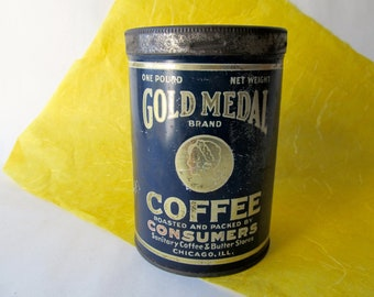 Vintage Gold Medal Brand Coffee Tin Can