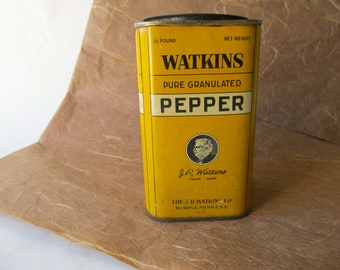 Vintage J. R. Watkins 1/2 LB. Pure Granulated Black Pepper Tin