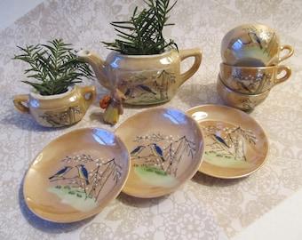 Vintage Lusterware Child's Tea Set, Blue Bird & Cherry Blossoms – Incomplete Service for 3