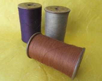 Lot of 3 Vintage Silk Mill WOODEN SPOOLS Pen Argyl Silk Company PA