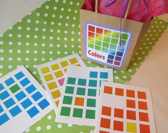"""Set of 8 """"Pantone"""" Guide Color Squares Greeting Cards/Note Cards"""