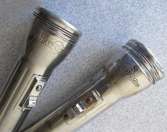 "2 Vintage Ray-O-Vac Flashlights – Chrome Plated – ""Bullet Style"""