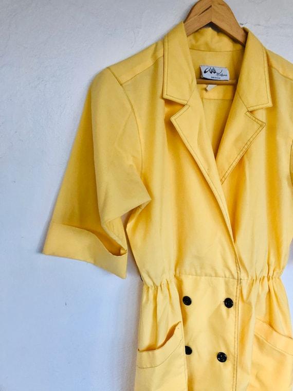 Vtg Plus Size Dress//Yellow Vintage Dress//Plus Si