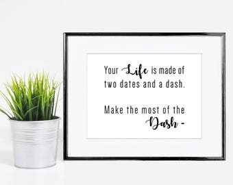 5x7 Inspirational Life Quote Black & White Print - Digital Download