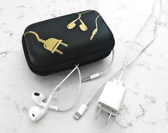 Black Headphone + Phone Charging Cords Travel Case: Gold Foil Cords Design