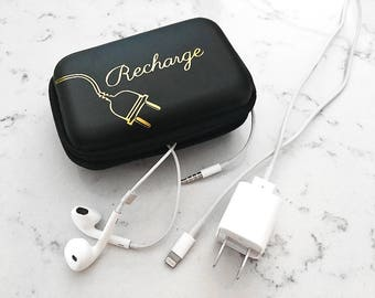 Black Headphone + Phone Charging Cords Travel Case: Gold Foil Recharge Design
