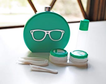 Green Contact Lens Case and Travel Kit: Silver Foiled Eye Glasses Design