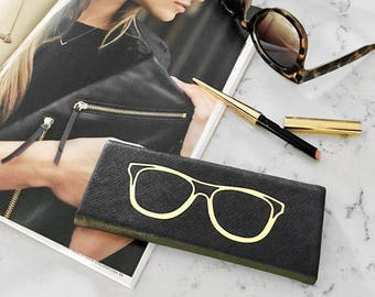 Black Foldable Hardback Sunglass & Eye Glass Travel Case: Gold Foiled Design