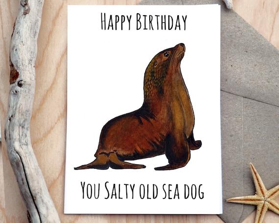 Alles Gute Zum Geburtstag Die Sie Salzig Alten Meer Hund Etsy