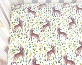 Baby Cot / Crib Fitted Sheet Leaves Wolves Baby Boy Nursery Decor
