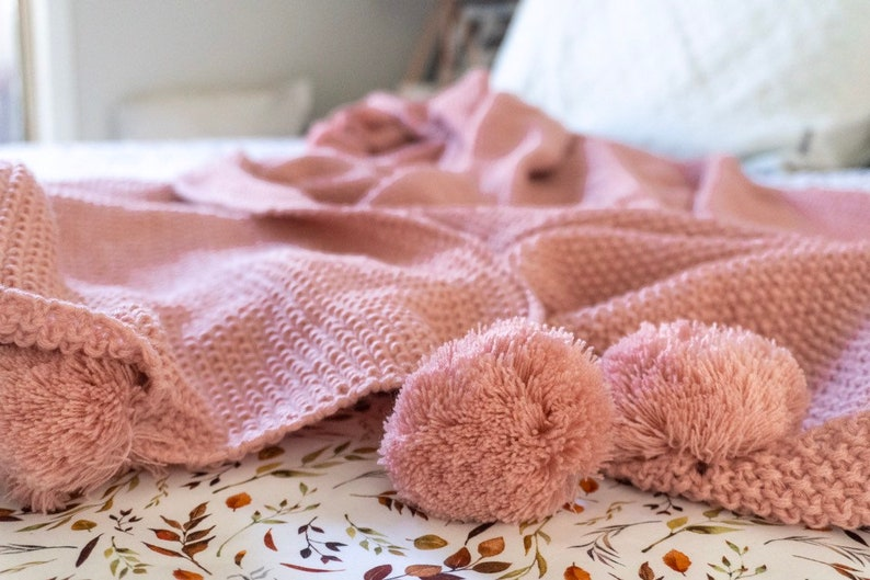 Pink Knitted Pom Pom Blanket Throw Bedroom Couch Decor