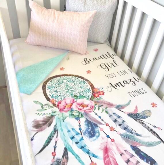 Baby Cot / Crib Quilt Blanket Beautiful Girl Dreamcatcher ...
