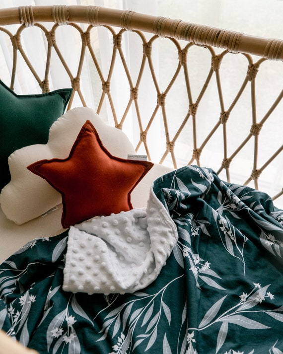 Designer Minky Baby Blanket Floral Prink  Baby Girl Nursery Pram Size