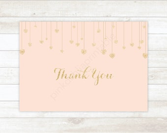 pink gold hearts bridal shower thank you cards gold glitter bridal shower thank you cards instant download
