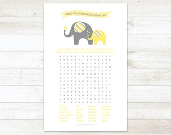 baby shower word search game baby boy shower game baby blue etsy