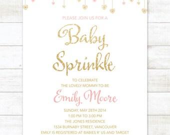 Gold Baby-Dusche Einladung Gold Baby-Dusche Gold Einladung