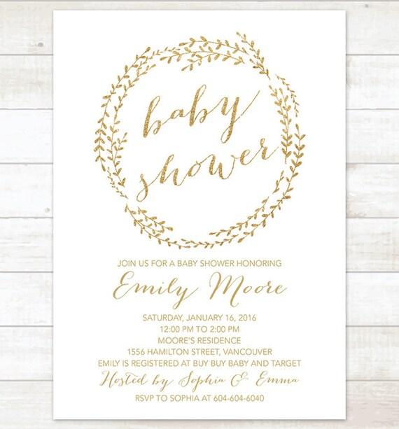 Gold baby shower invitation printable baby shower invitation etsy image 0 filmwisefo
