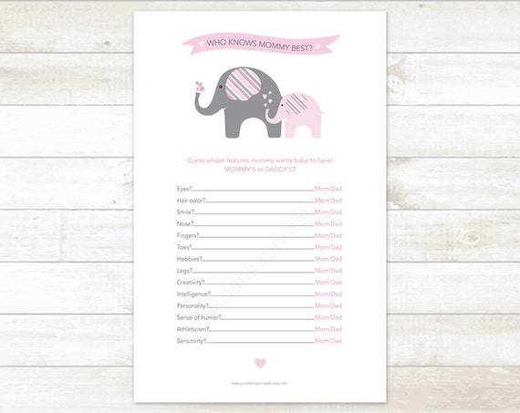 Who Knows Mommy Best Baby Girl Shower Game Baby Shower Etsy