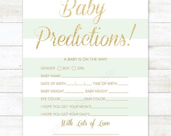 baby prediction card mint stripe gold glitter baby shower game, DIY mint gold gender neutral digital shower games - INSTANT DOWNLOAD