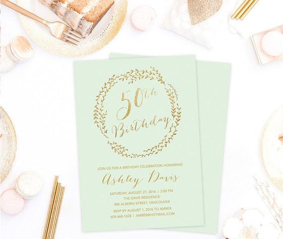 50th Birthday Invitation 50th Birthday Card 50th Birthday Etsy