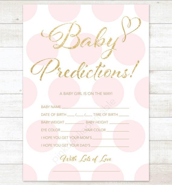 Baby Prediction Card Pink Polka Dots Baby Shower Game Diy Pink Etsy
