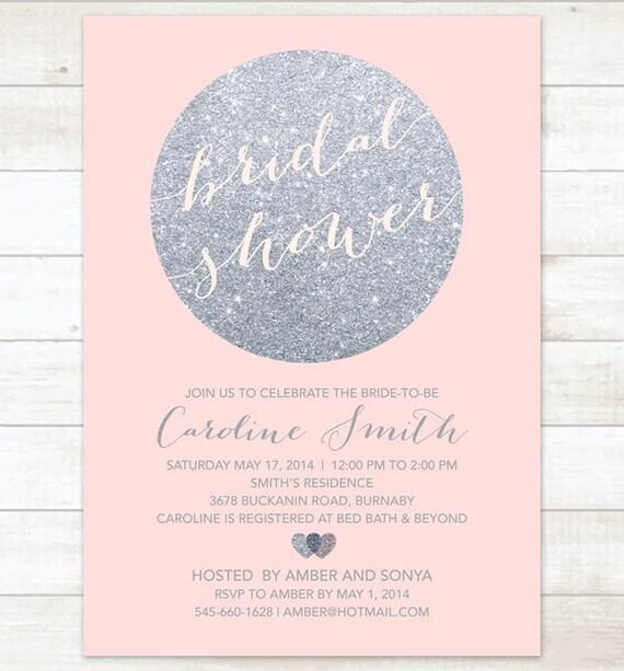 Silver pink bridal shower invitation pink silver glitter etsy image 0 filmwisefo