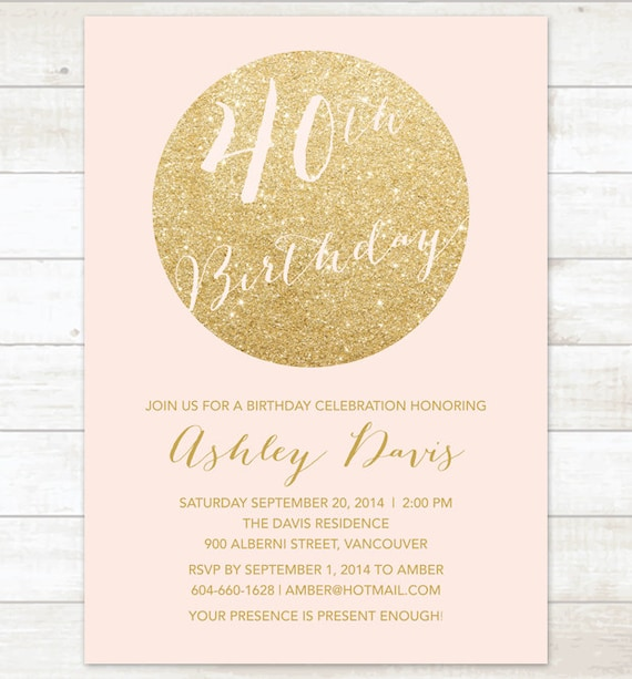 pink gold 40th birthday party invitation pink gold glitter any etsy
