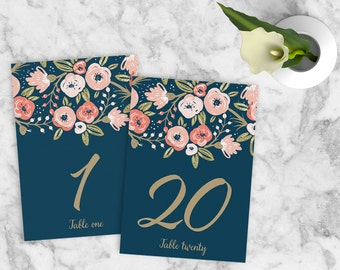 Wedding Table Numbers 1-20, Floral Wedding Table Numbers, Navy Gold Wedding Table Numbers, Boho Wedding Table Numbers, INSTANT DOWNLOAD