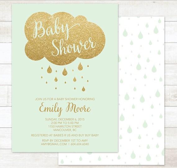 Mint Gold Baby Shower Invitation