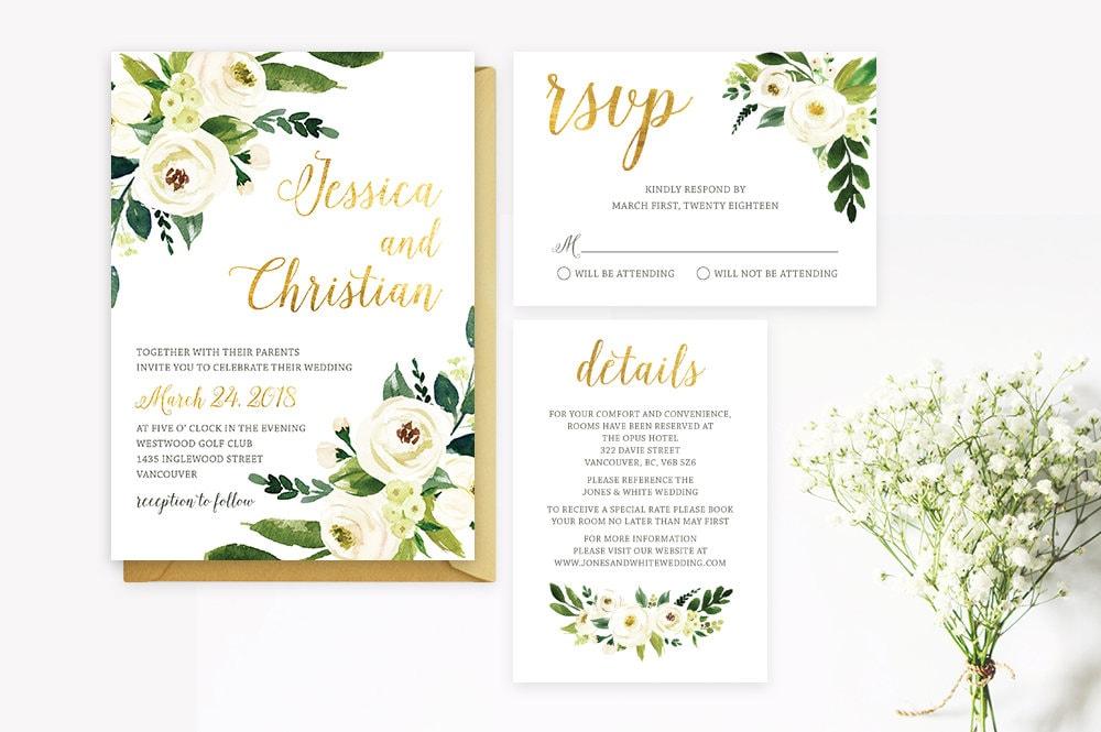 White And Green Wedding Invitations: White Gold Green Wedding Invitation Set Printable Floral