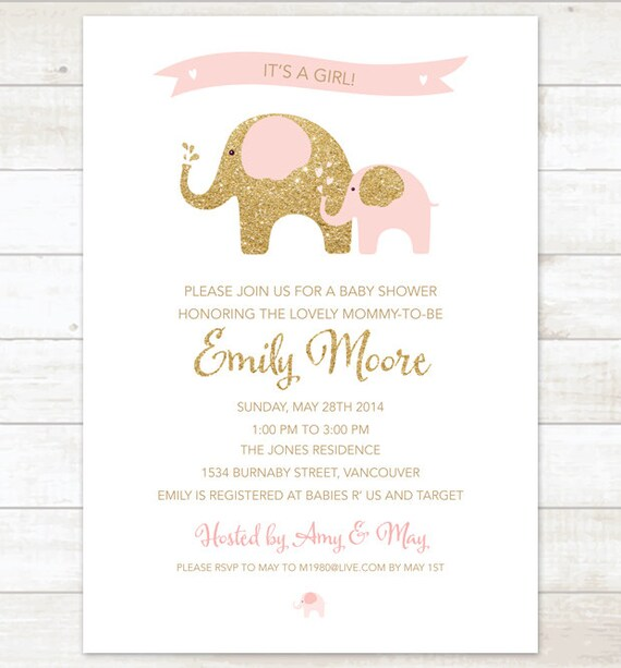 Pink Gold Elephant Baby Girl Shower Invitation Pink Gold Etsy