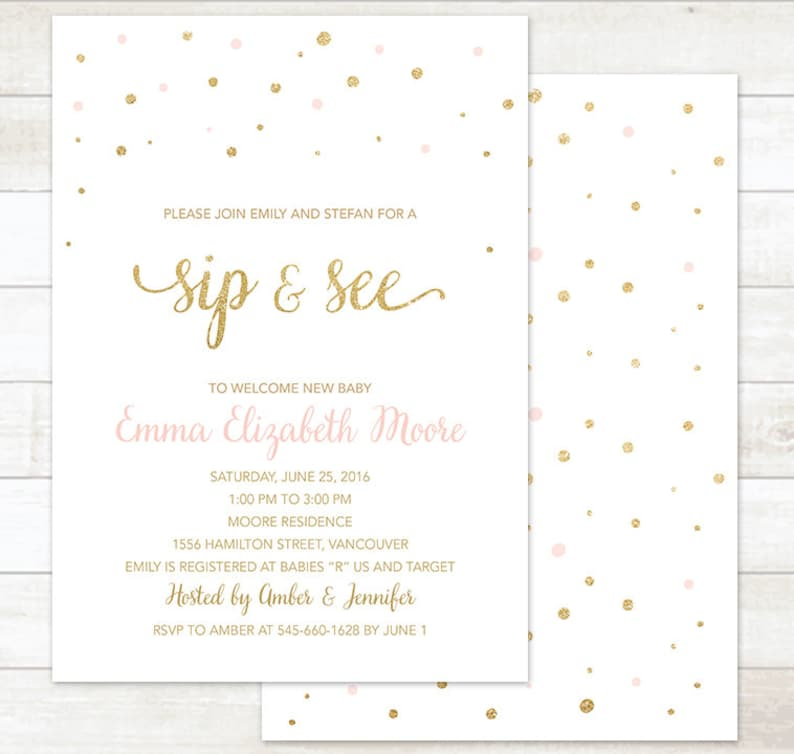 Sip And See Invitation Pink And Gold Sip And See Invitation Etsy