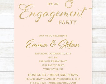 pink gold engagement party invitation, pink and gold glitter engagement party invite, customizable