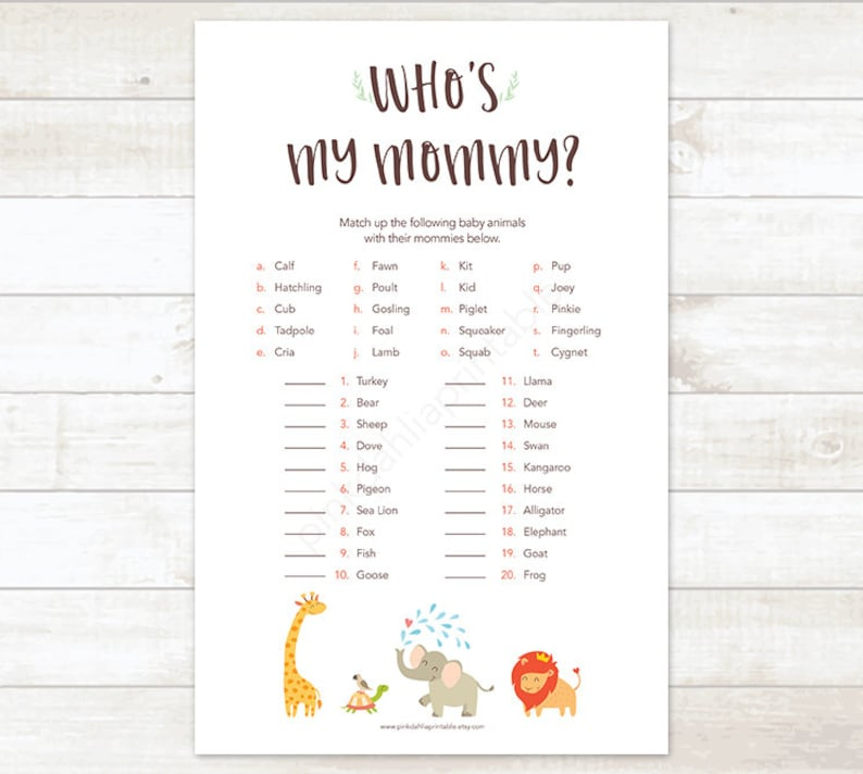 bdcd2be414bc9 Safari Baby Shower Games, Who's My Mommy, Who is My Mommy Baby Shower Game,  Safari Baby Shower Printables - INSTANT DOWNLOAD