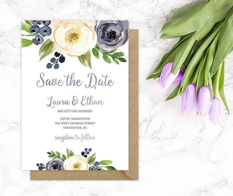 91e56bd862705 Purple Floral Save the Date Card Purple Wedding Save the Date | Etsy