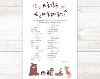 Woodland Baby Shower What's In Your Purse Game, What's in Your Purse Printable Baby Shower Game, Woodland Baby Shower - INSTANT DOWNLOAD