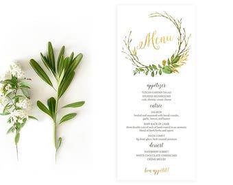 Winter Wedding Menu, Mint Gold Wedding Menu, Rustic Wedding Menu, Floral Wedding Menu, Gold Foil Wreath Wedding Menu