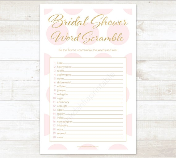 gold and pink bridal shower word scramble printable game pink gold glitter wedding shower digital games instant download
