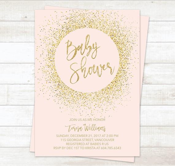 Pink gold baby shower invitation girl baby shower invitation etsy image 0 filmwisefo