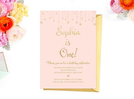 Pink Gold First Birthday Invitation Blush Gold Glitter Etsy