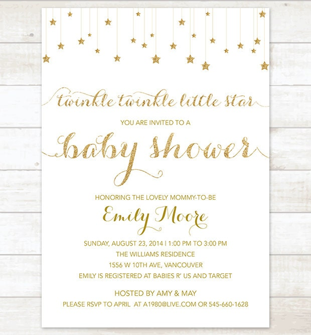 Twinkle twinkle baby shower invitation white gold stars baby etsy zoom filmwisefo