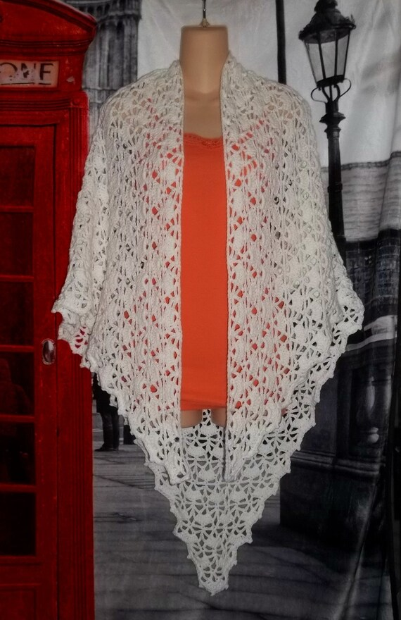 Elegant White Lace Crochet Shawl Made From Vanna White Pattern Etsy