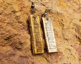 Vintage 1970/'s Gold Egyptian Hieroglyph Pierced Earrings