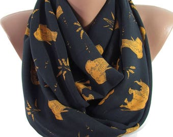 Elephant Scarf Infinity Scarf    Gift For Wife Animal Boho Scarf Travel Gift Circle Scarf   Women Accessories Gift For Women Gift For Her