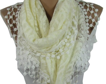 Lace Shawl Scarf Cream Scarf Cowl   Scarf Cream Wedding Scarf Wrap Bridesmaids Gifts Bridal Accessories Gift For Bride For Mom Holiday Gift