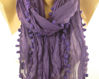 Pom Pom Scarf Purple Scarf Shawl Cowl Scarf  Gift for Mom   Winter   Fashion Accessories  Gift Valentines Gift For Women Gift For Her DERINS
