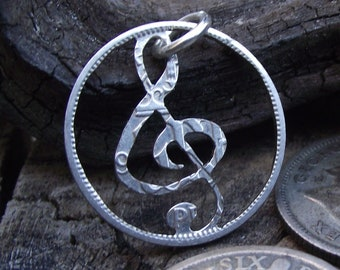 Hand cut treble clef necklace (0.500 silver), lucky silver sixpence, quirky gift for a music lover
