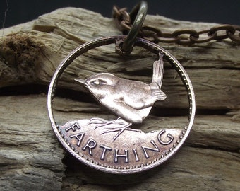 JENNY WREN hand cut farthing coin