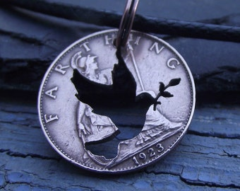 PEACE DOVE hand cut farthing coin, unusual bronze necklace, ideal gift for a lover of nature or one who seeks peace