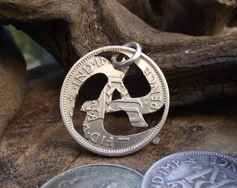 Rolling Anarchy Hand Cut Coin Necklace, 0.500 silver sixpence, genuine repurposed vintage silver coin, a unique and alternative gift